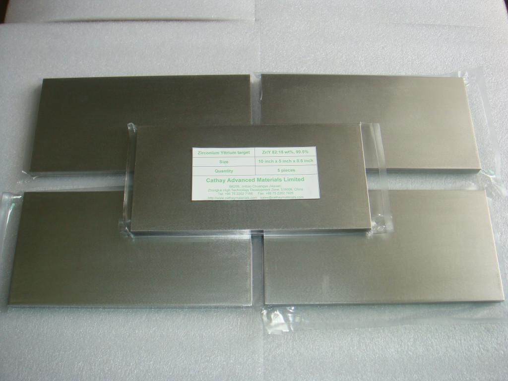 Zirconium Yttrium ZrY, Zr/Y, YSZ target,  SOFC electrolyte