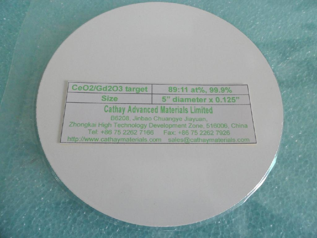 Gadolinia doped Ceria GDC CeO2/Gd2O3 target