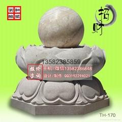 纯天然石材喷泉风水球雕塑摆件