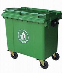 660L 塑料環衛垃圾桶(可裝腳踏)供應福州