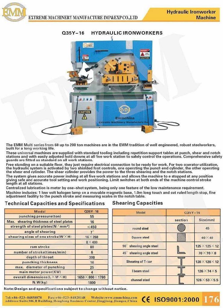 Hydraulic Life Support : Dual hydraulic universal multi function ironworker machine