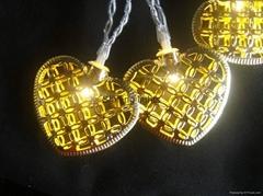 10LED Battery waterproof outdoor gold metallic heart lights