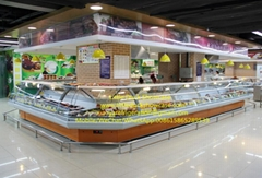 Supermarket Service Counter Hot Food Display Cabinet