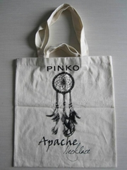Recycled white cotton shopping bag