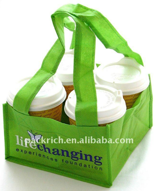 100% Recycled eco-friendly non woven coffee bottle bag 1
