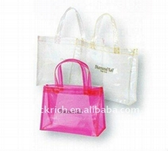 Fashion PVC cosmetic handle bag for lady