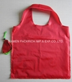 Easy carry red polyester foldable bags
