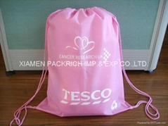 Pink Non-woven shoes bag with drawstring closure