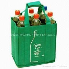 Green non woven wine packing bag for six bottles