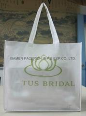 White polypropylene non woven bag with long handle