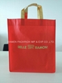 2018 promotional red non woven gift bag with gold handle
