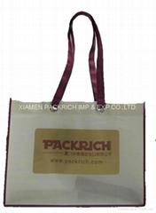 Cheap long handle with big eyelet non woven shopping bag