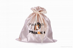 Eco-friendly Custom Satin Drawstring hair extensions storage bag