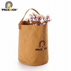 New Arrival Customized Logo Kraft Bucket Bag/Round Durable Washable Kraft Paper