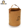 New Arrival Customized Logo Kraft Bucket Bag/Round Durable Washable Kraft Paper  2