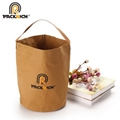 New Arrival Customized Logo Kraft Bucket Bag/Round Durable Washable Kraft Paper  4