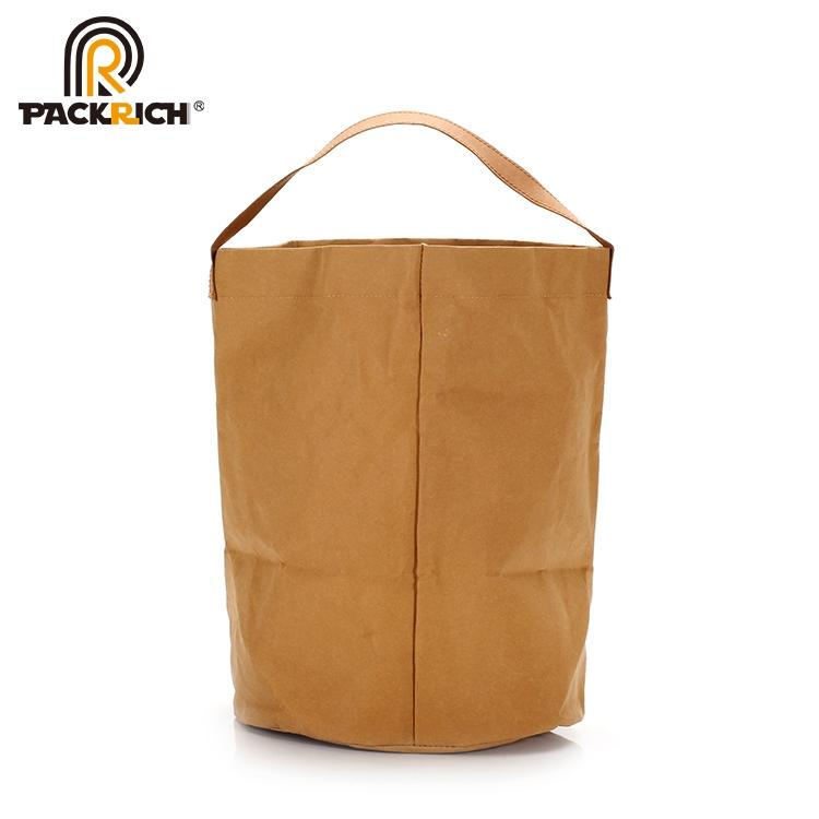 New Arrival Customized Logo Kraft Bucket Bag/Round Durable Washable Kraft Paper  6