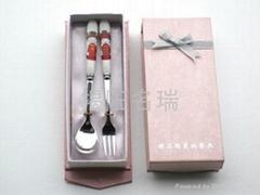 精品陶瓷小号叉勺套装餐具