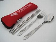 潛水布袋三件套 環保便攜式餐具叉勺筷子