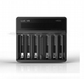 Best 6 bay 18650 battery charger efest luc v6 0.68a/2a current