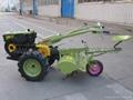 walking behind tractor