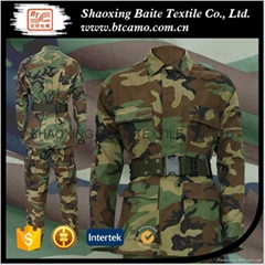 Woodland military camouflage BDU uniform