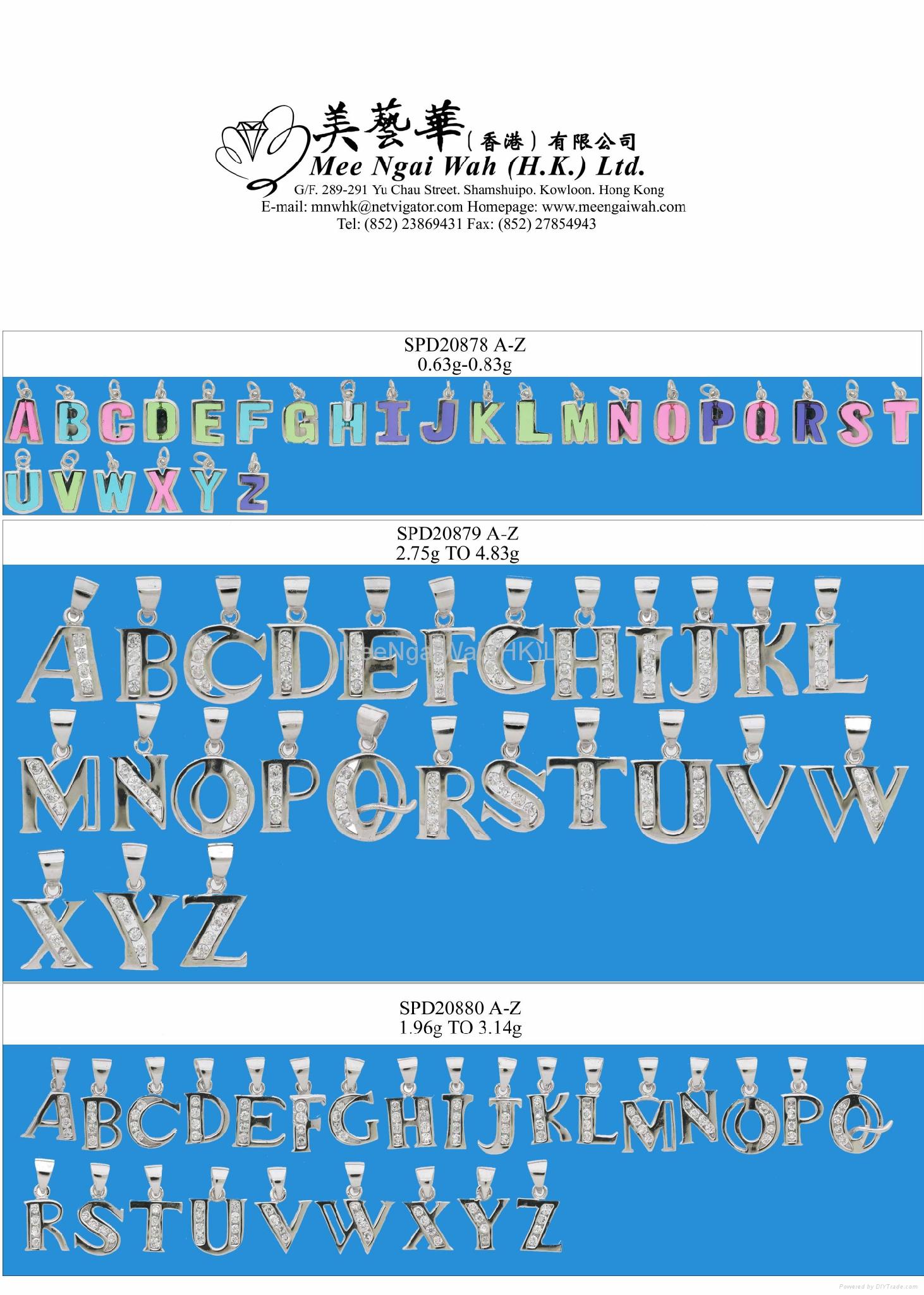 纯银/镶石英文字母 3