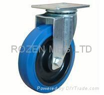 Swivel elastic rubber castor