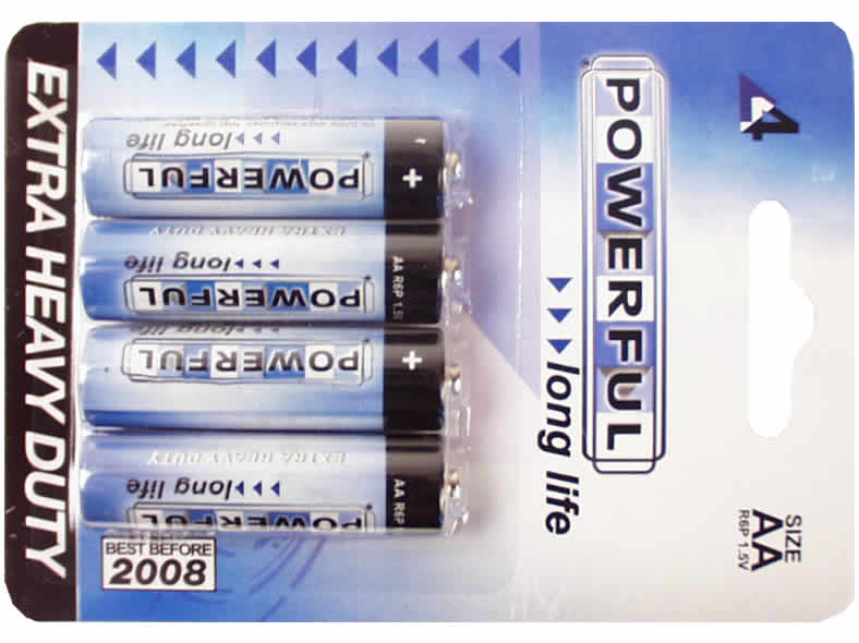 High Quality Battery AA R6P 1,5V Powerful Longlife 4pcs Blister