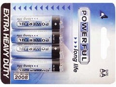 High Quality Battery AA R6P 1,5V Powerful Longlife 4pcs Blister