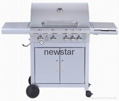 4 Main Burner Gas Grill Barbecue With 1