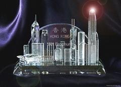 小號立體香港景水晶