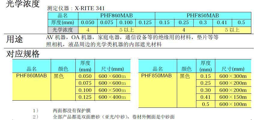 住友PHF860MAB絕緣遮光用非鹵素難燃PC薄膜 2