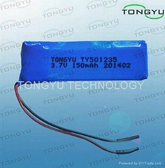 501235 3.7V Lithium Polymer Battery Cell 150mAh With PCM For Bluetooth Headsets
