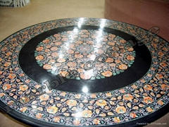 Black Marble Inlay Art Dinning Table Top