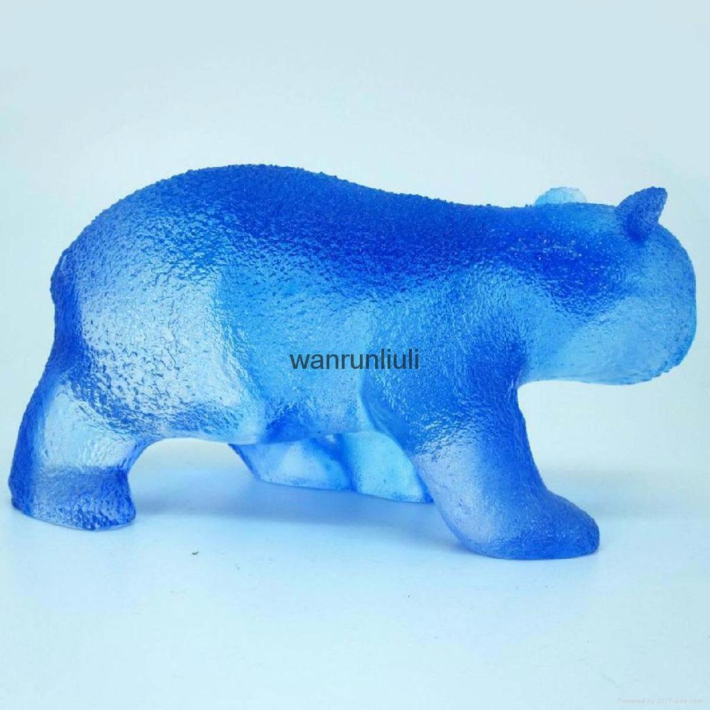 古法琉璃工艺品--琉璃站熊 2