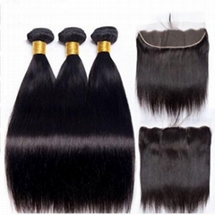 Human Hair Bundles With Frontal Closure 13x4 Pre Plucked Straight Brazilian Hair
