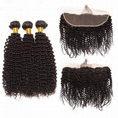 Brazilian Kinky Curly Human Hair Bundles With Lace Frontal Closure 13X4