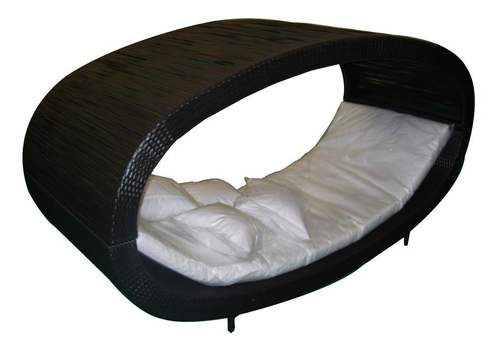 Wicker beach chaise lounge outdoor round bed aluminium for 3 in 1 beach chaise lounge