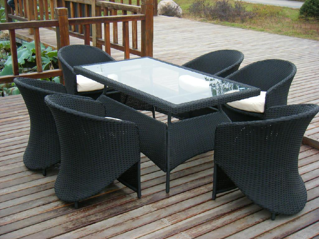 new rattan garden furniture outdoor table and chair rattan restaurant furniture - Garden Furniture Table And Chairs