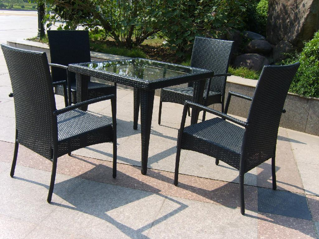 New rattan garden furniture outdoor table and chair rattan for Outdoor patio table and chairs