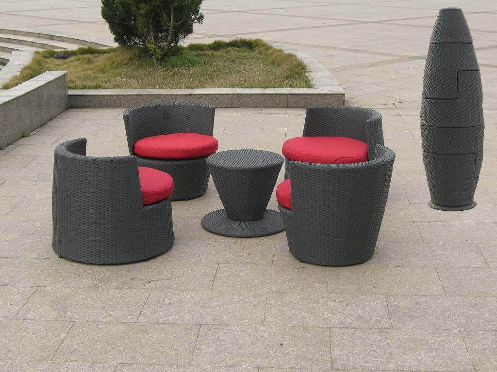 Stackable rattan bar furniture popular aluminium for Cojines para sillas