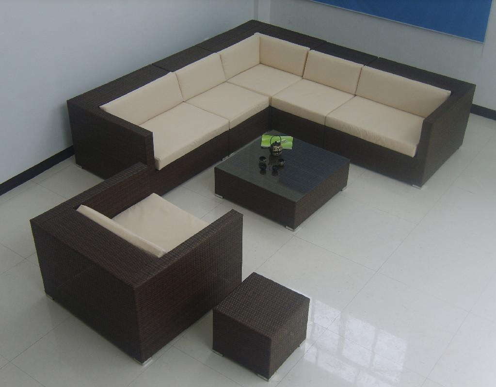 New design rattan patio furniture free assemble rattan sofa set with cushion t050 akando New home furniture bekasi