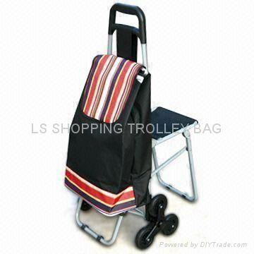 shopping trolley with three wheel and seat 2