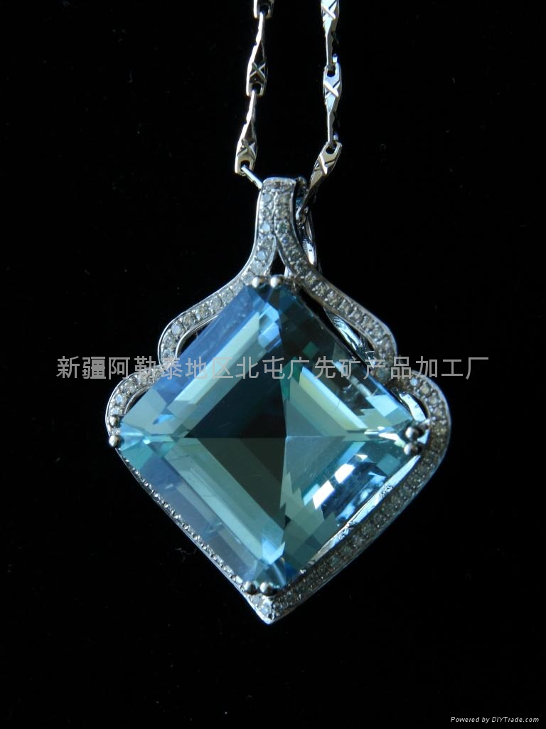 (纯天然)新疆方形海蓝吊坠(特惠价) 1