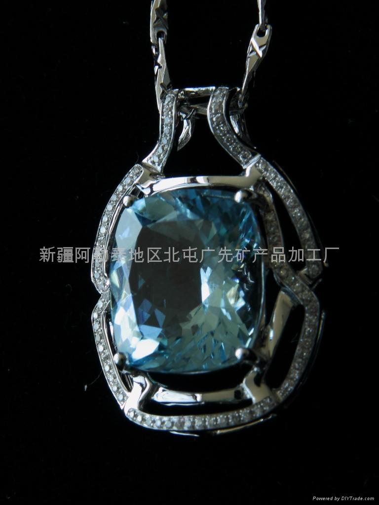 (天然)新疆方形海藍吊墜(特惠價) 1