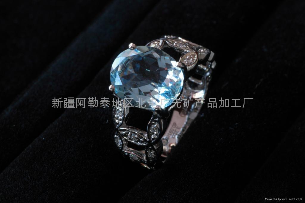 (纯天然)新疆旦形海蓝戒指(特惠价) 1