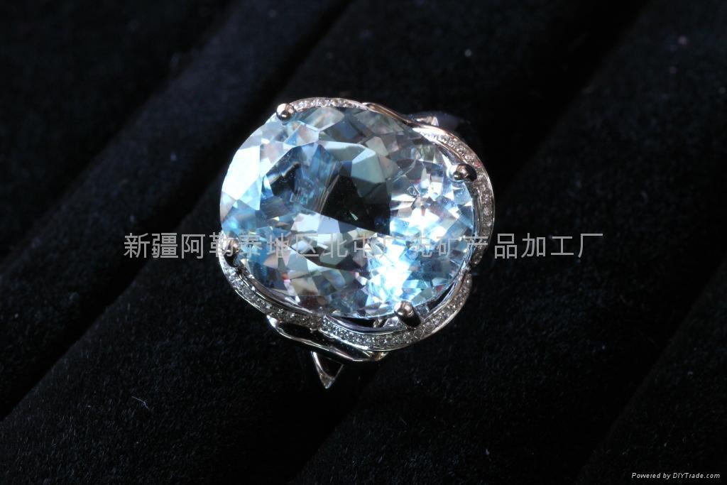 (天然)新疆海蓝旦形戒指(特惠价) 1
