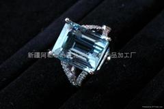 (純天然)新疆方形海藍戒指(特惠價)