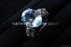 (天然)新疆旦形海蓝戒指(特惠价)